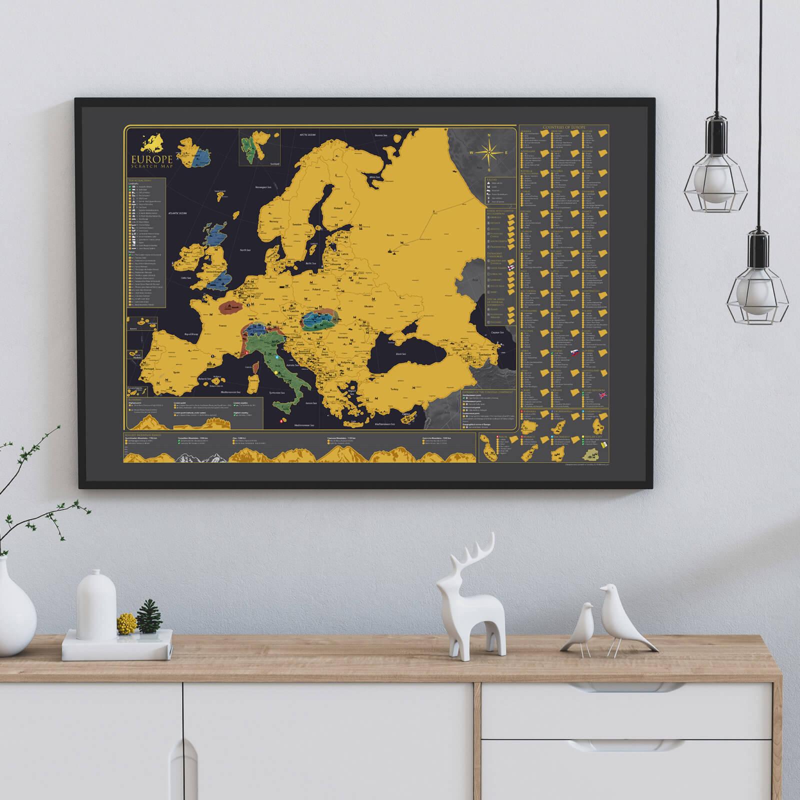 Stieracia mapa Európy - na stene