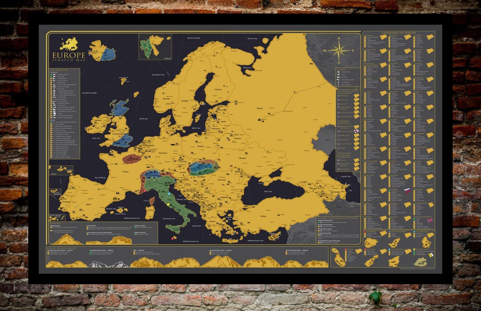 Stieracia mapa Európy - zobrazená so zotretými časťami
