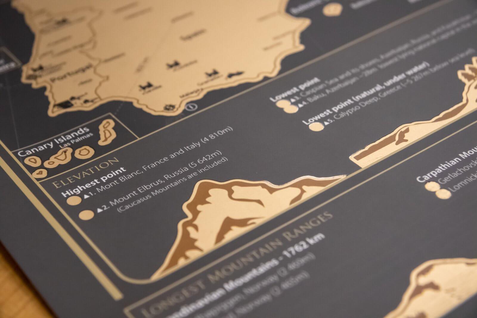 Stieracia mapa Európy - Detail pohorí