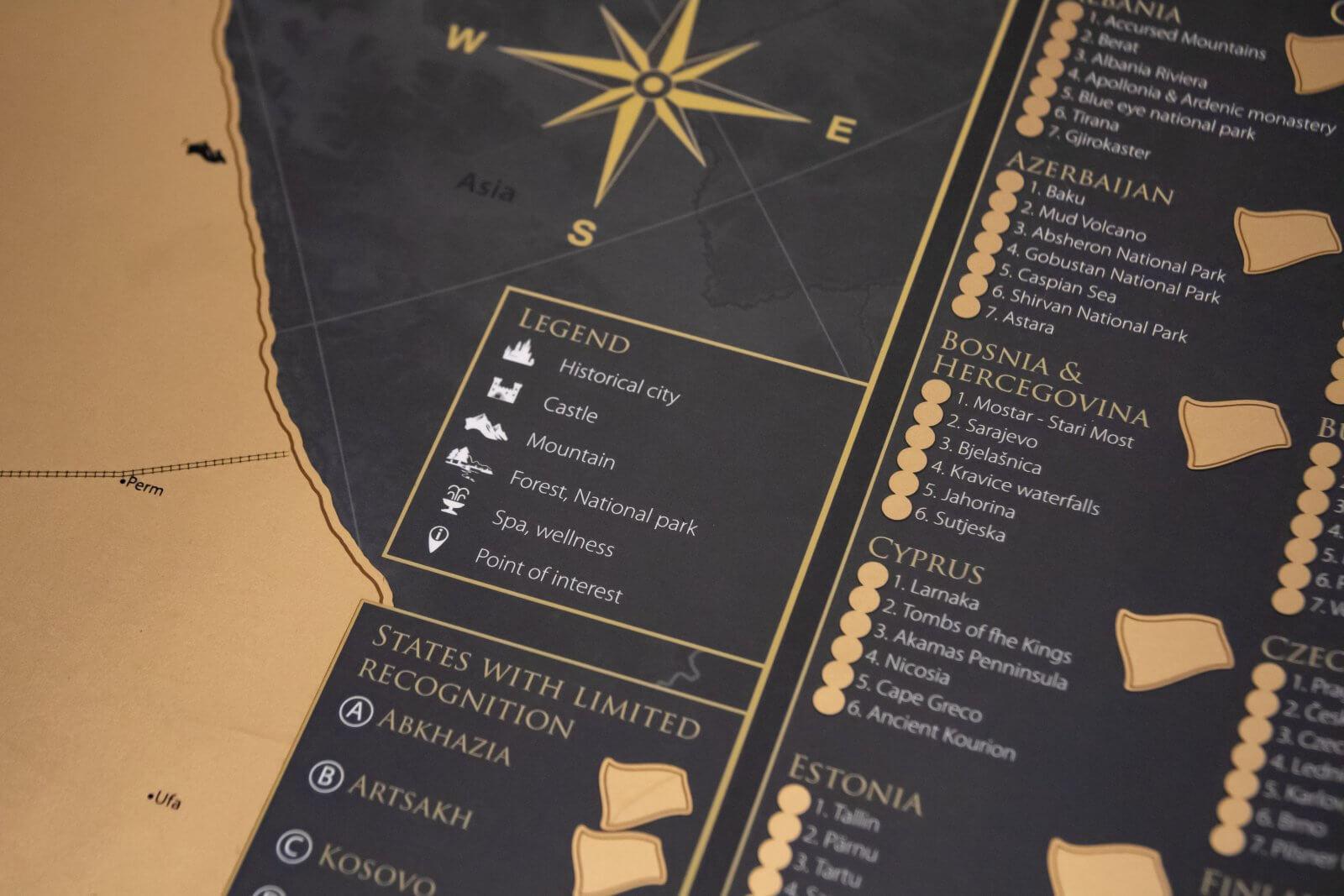 Stieracia mapa Európy - Detail legendy