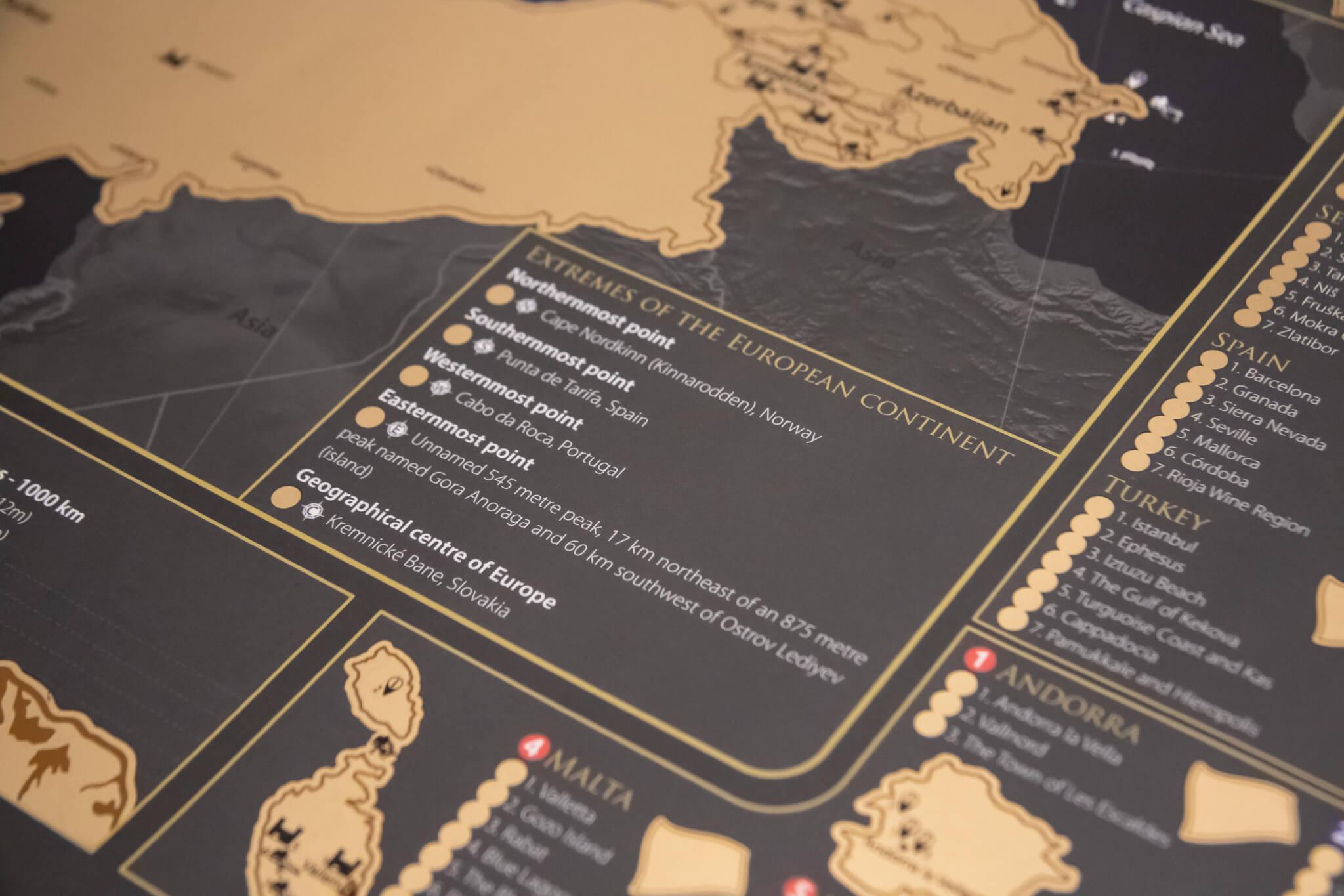 Stieracia mapa Európy - Okrajové body