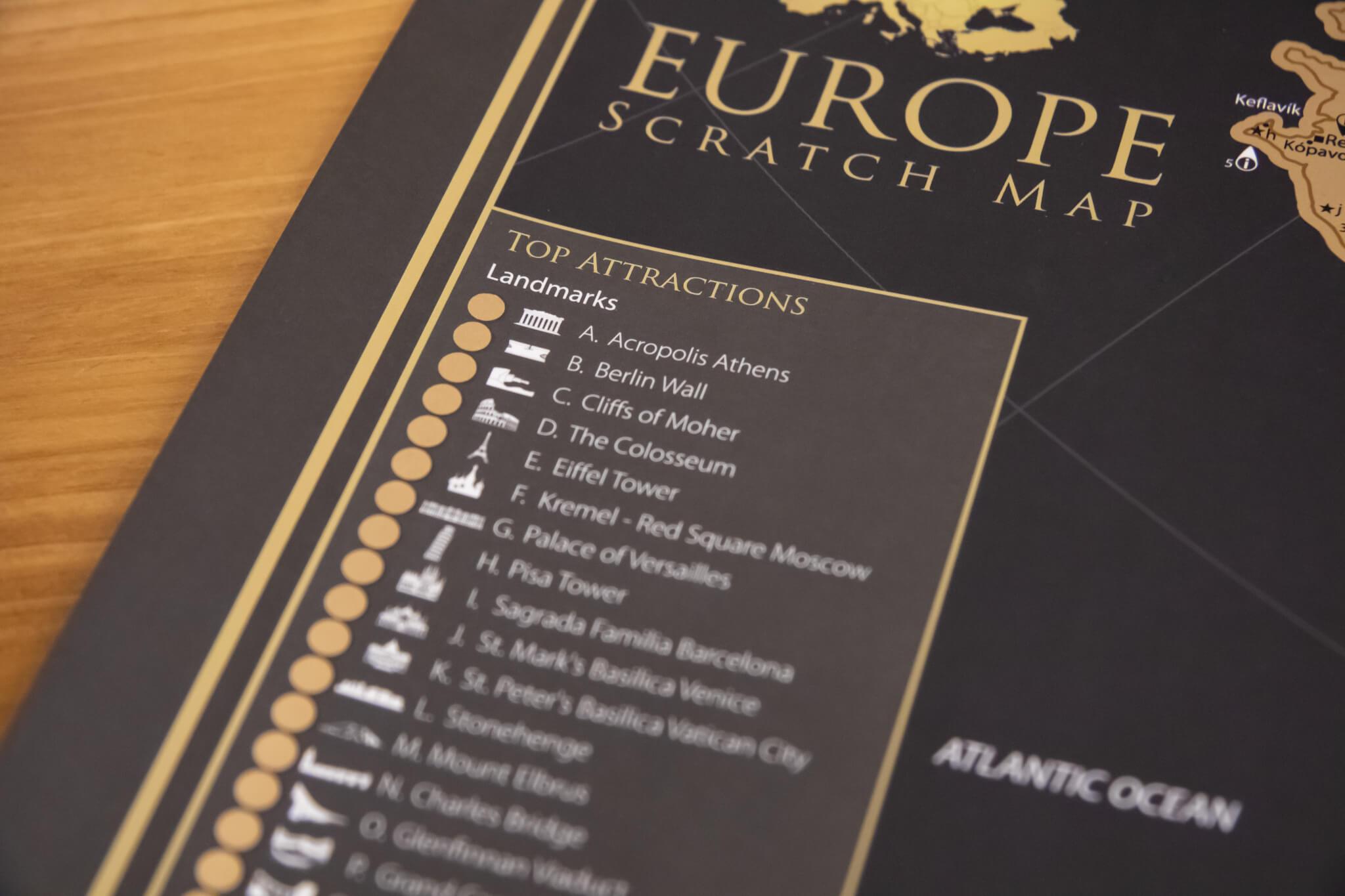 Stieracia mapa Európy - Detail top atrakcií