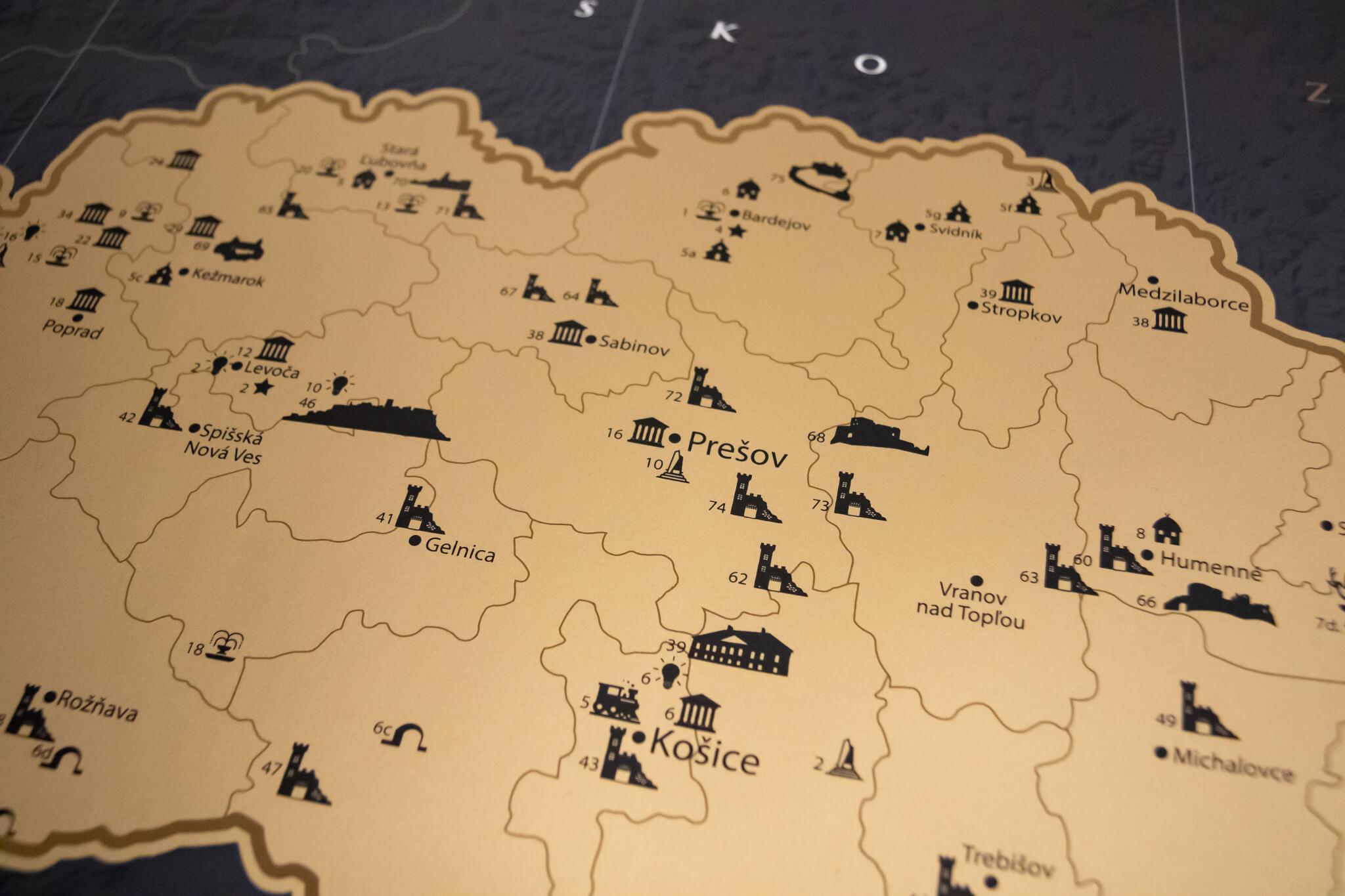 Stieracia mapa Slovenska - Detail stieracej fólie