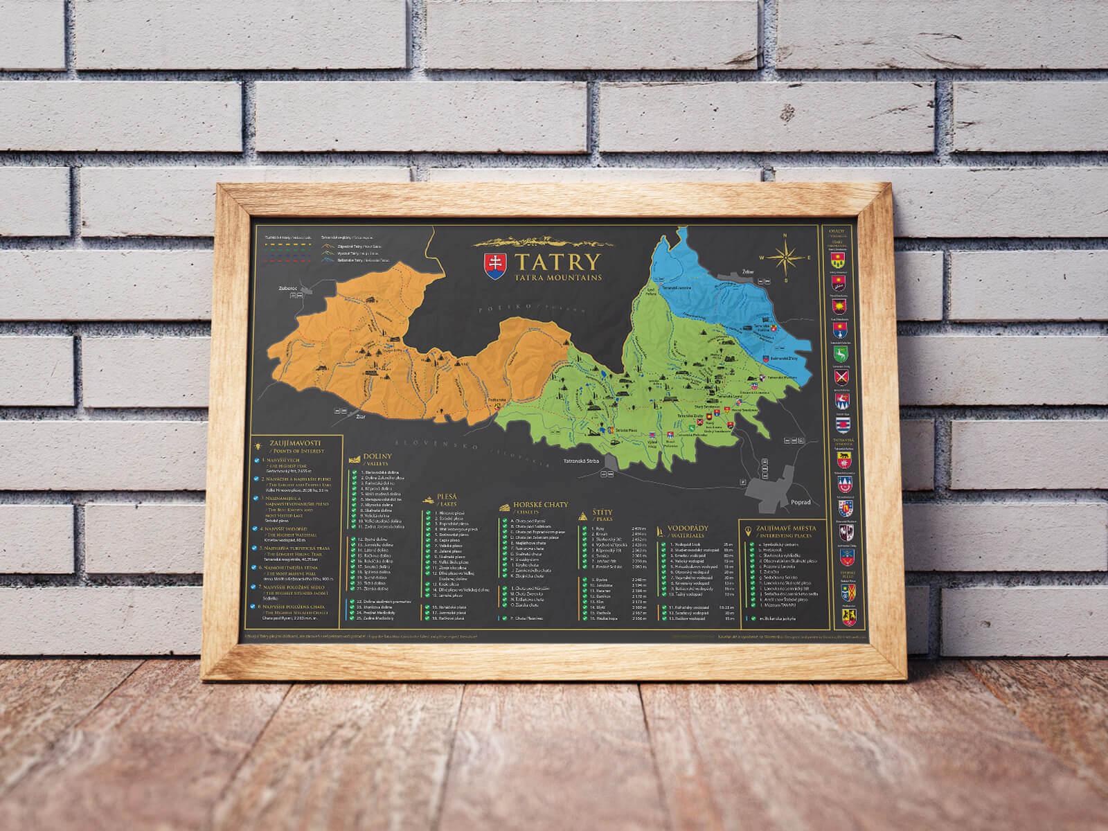 Stieracia mapa Tatier (A3) - mapa