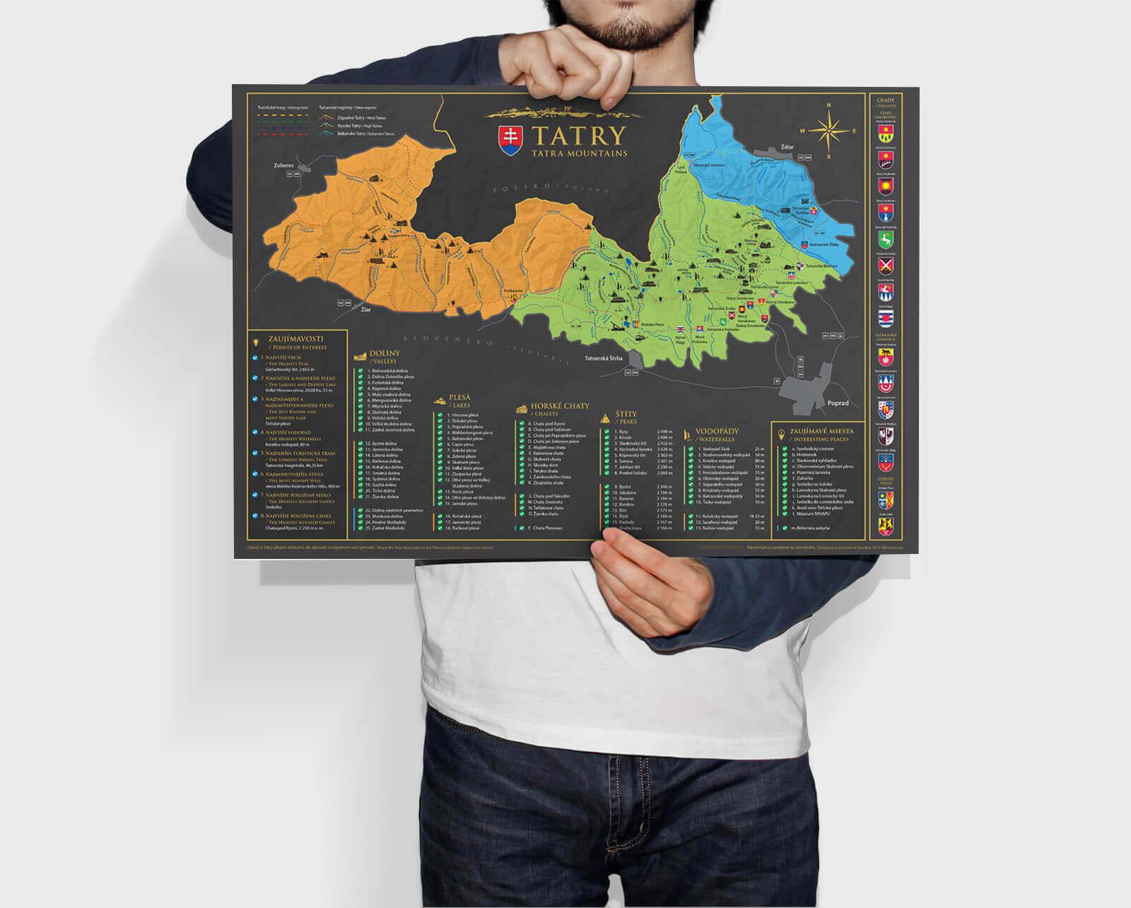 Stieracia mapa Tatier (A3) - rozmery