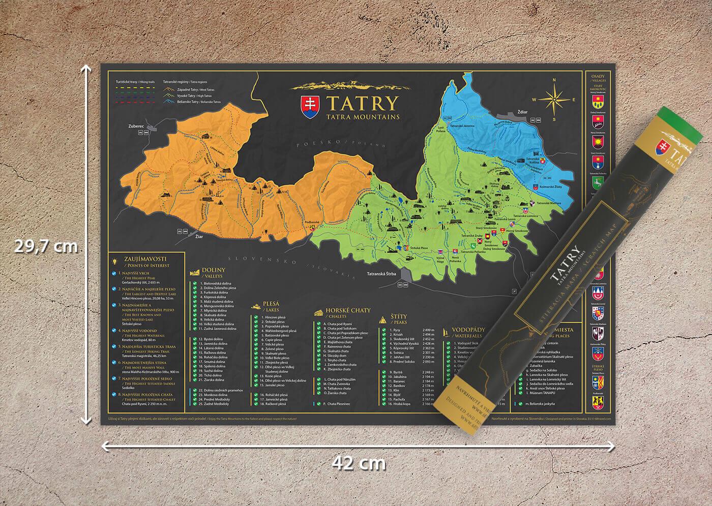 Stieracia mapa Tatier (A3) - s tubusom