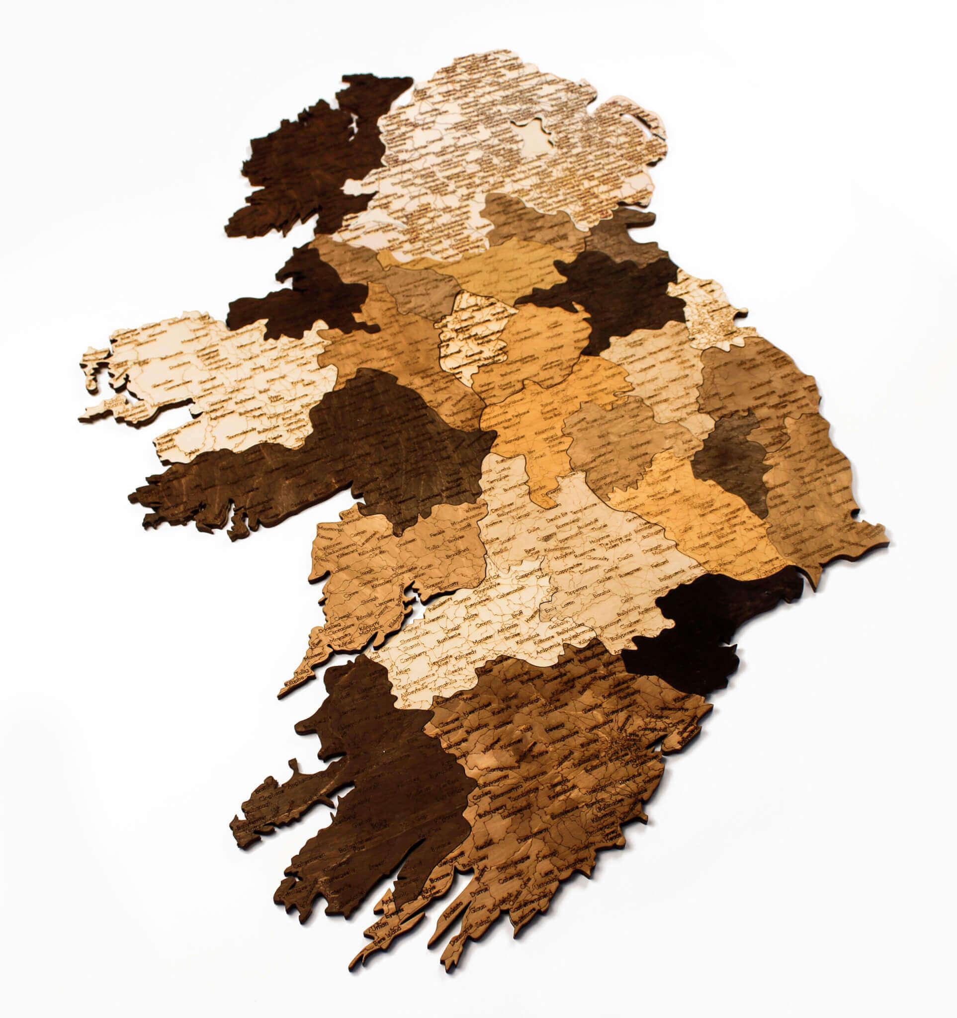Nástenná drevená mapa Írska
