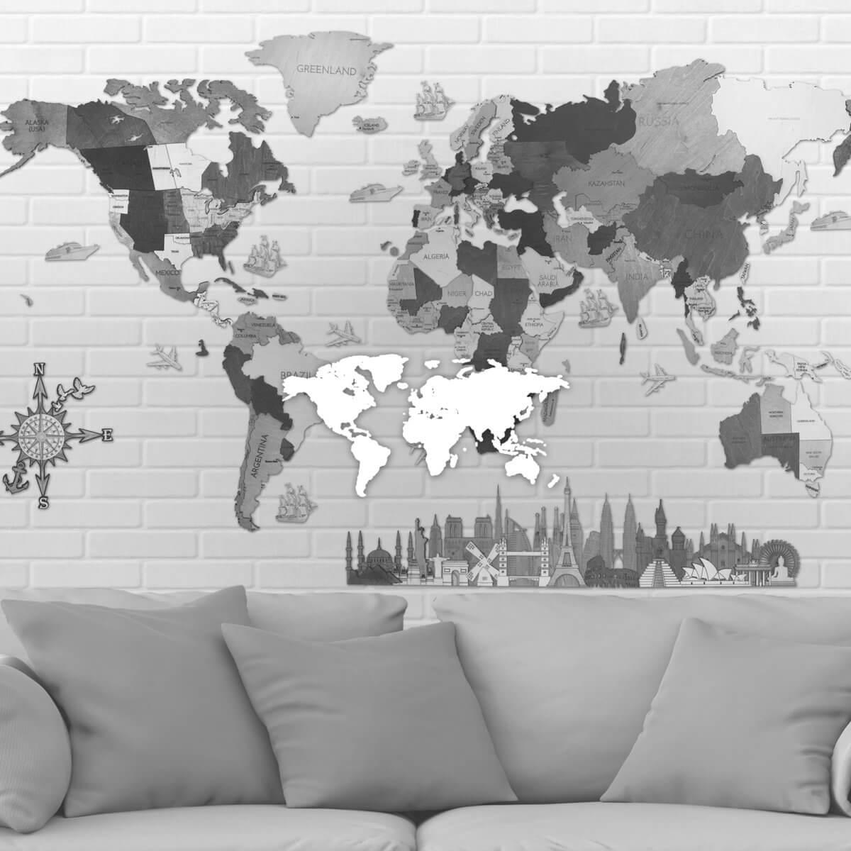 Drevené nástenné mapy