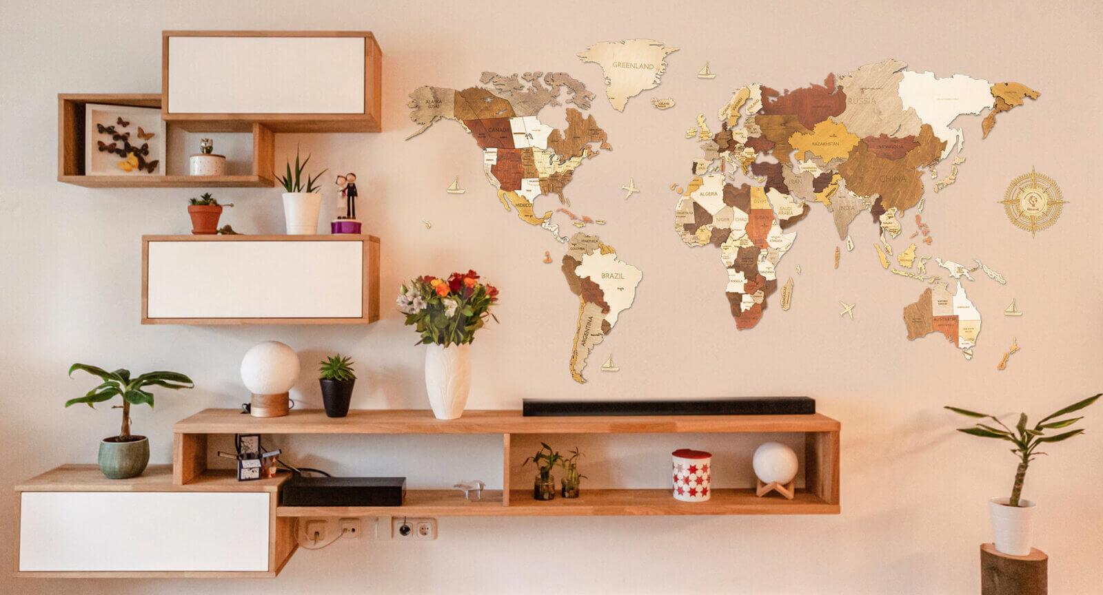 Wooden World Map - Interiér