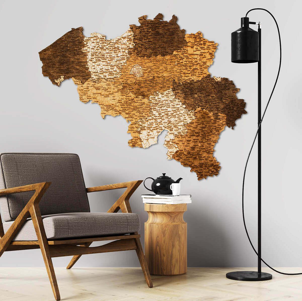 Nástenná drevená mapa Belgicka
