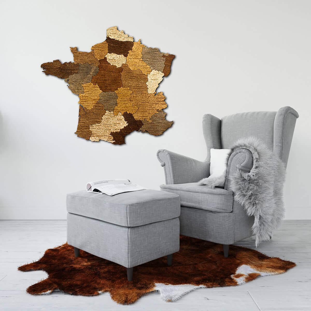Nástenná drevená mapa Francúzska