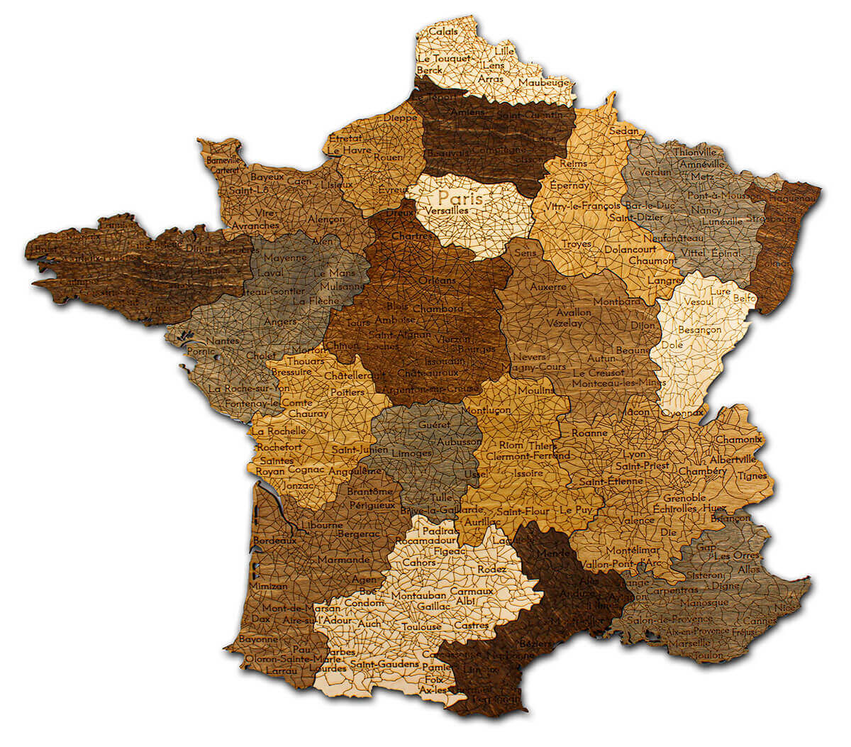 Nástenná drevená mapa Francúzska - detail