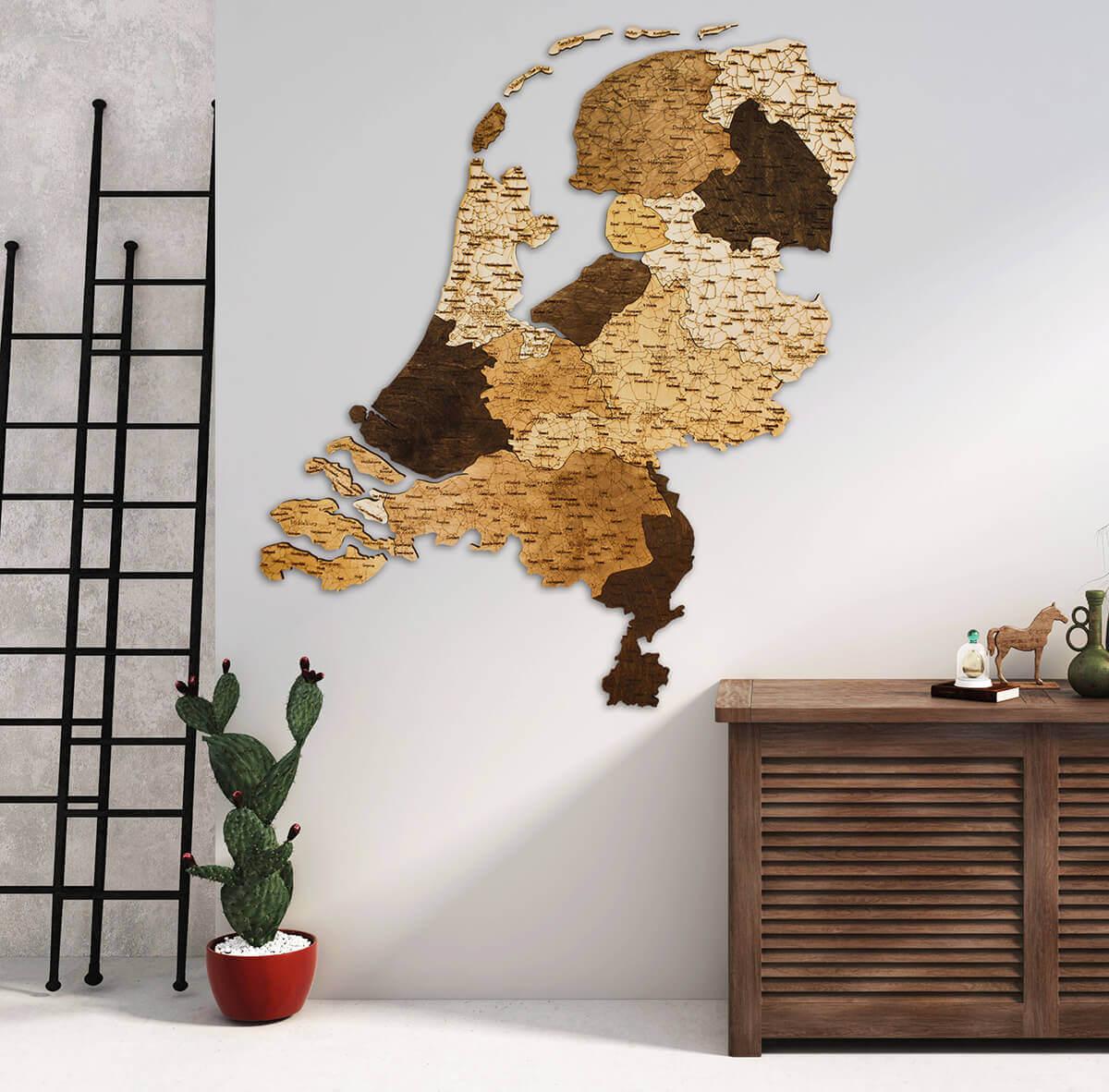 Nástenná drevená mapa Holandska