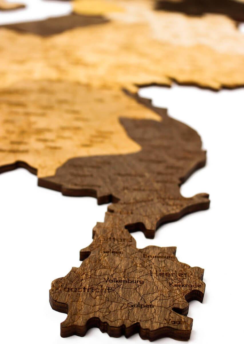 Nástenná drevená mapa Holandska - detail