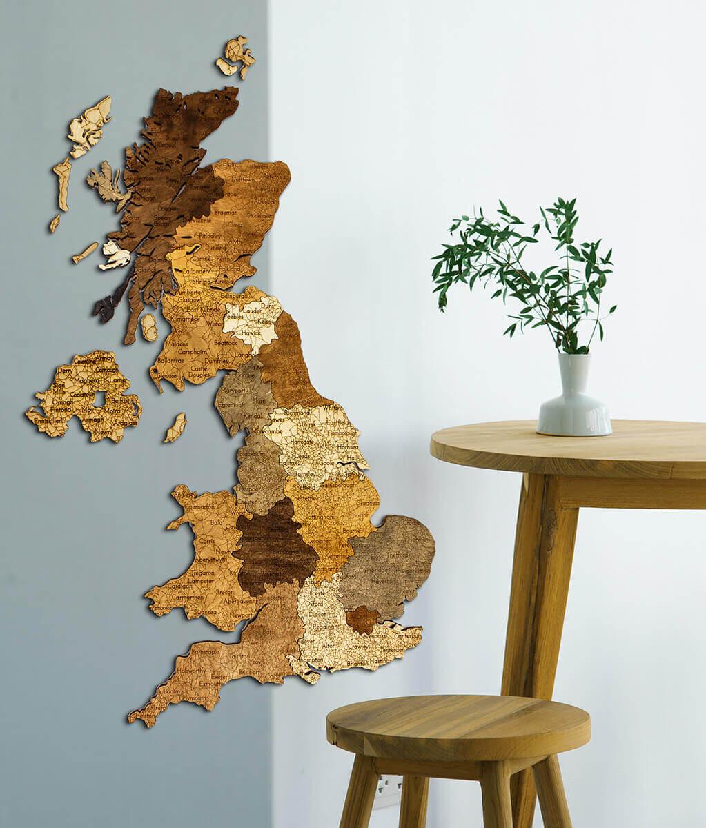 Nástenná drevená mapa Veľkej Británie