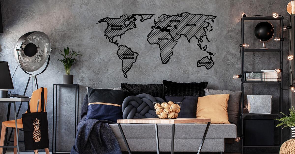 LINE drevená mapa sveta - pripevnená na stenu