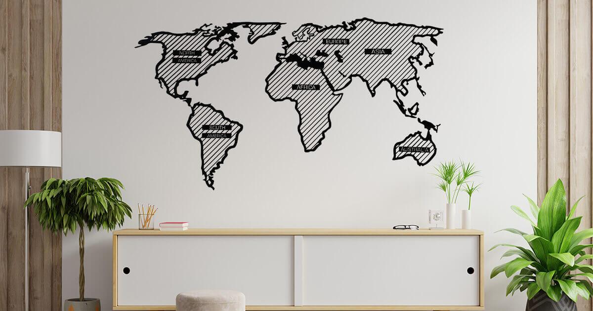 LINE drevená mapa sveta - Adventurer