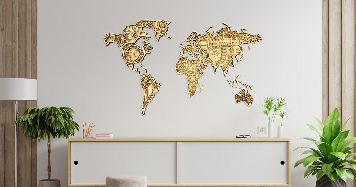 Priemyselná drevená mapa sveta - L - Traveler