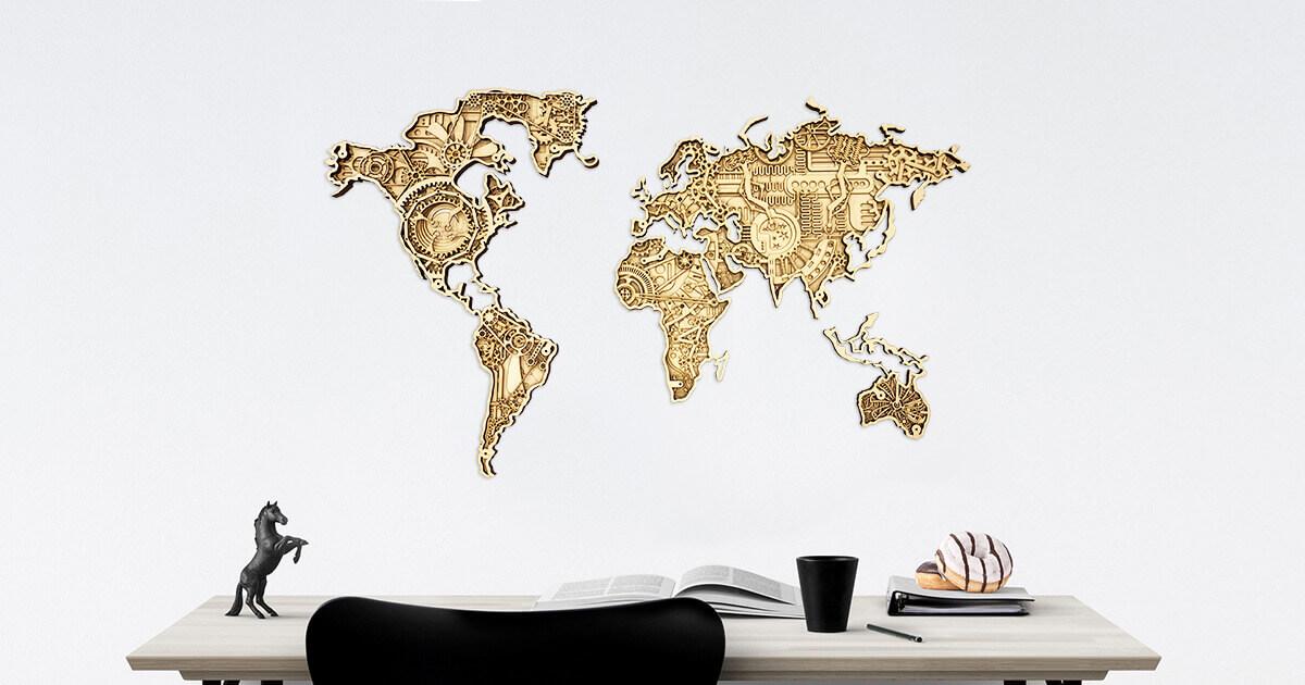 Priemyselná drevená mapa sveta - pripevnená na stenu