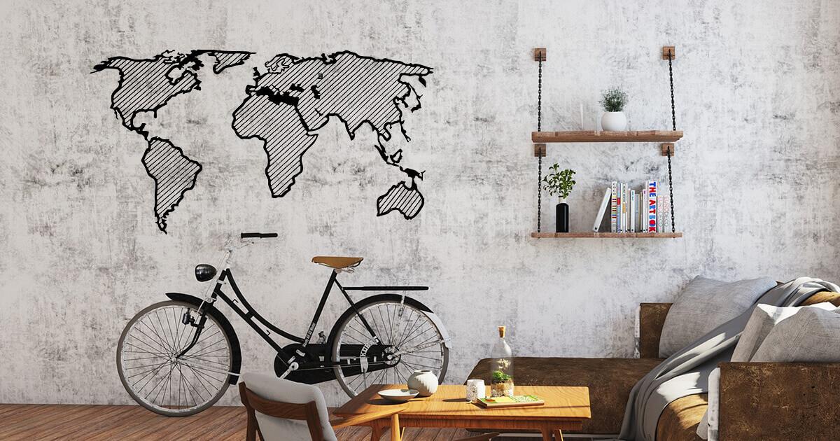 LINE drevená mapa sveta - Traveler
