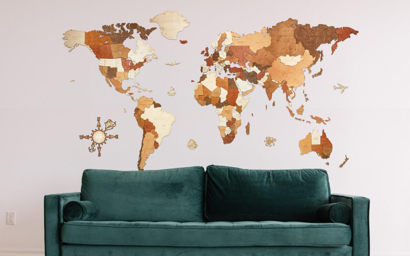 MEGA - Adventurer - drevená mapa sveta