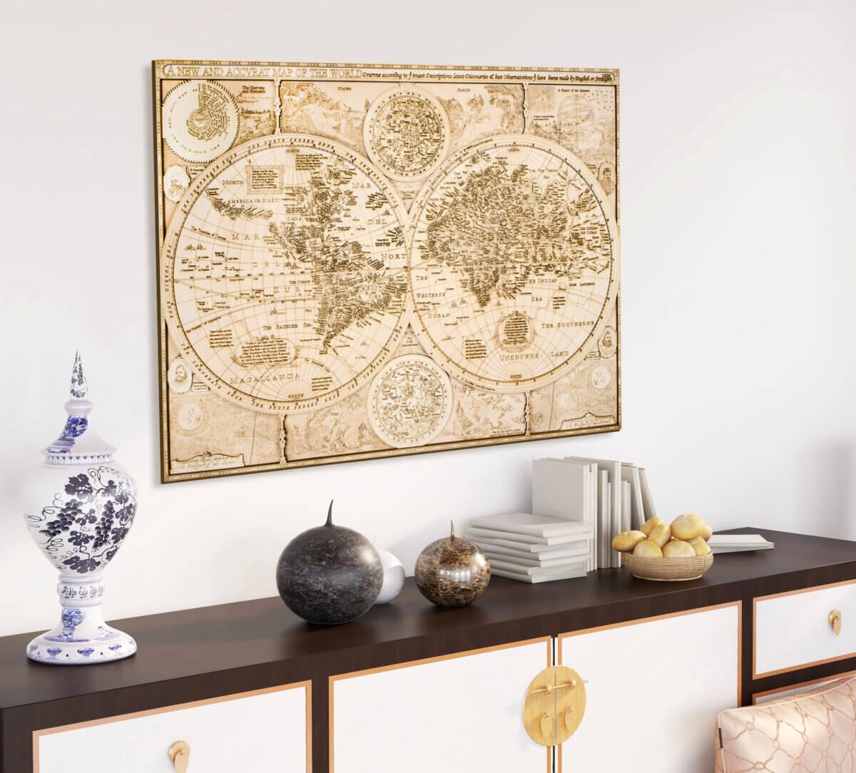 Historická drevená mapa sveta - z roku 1626