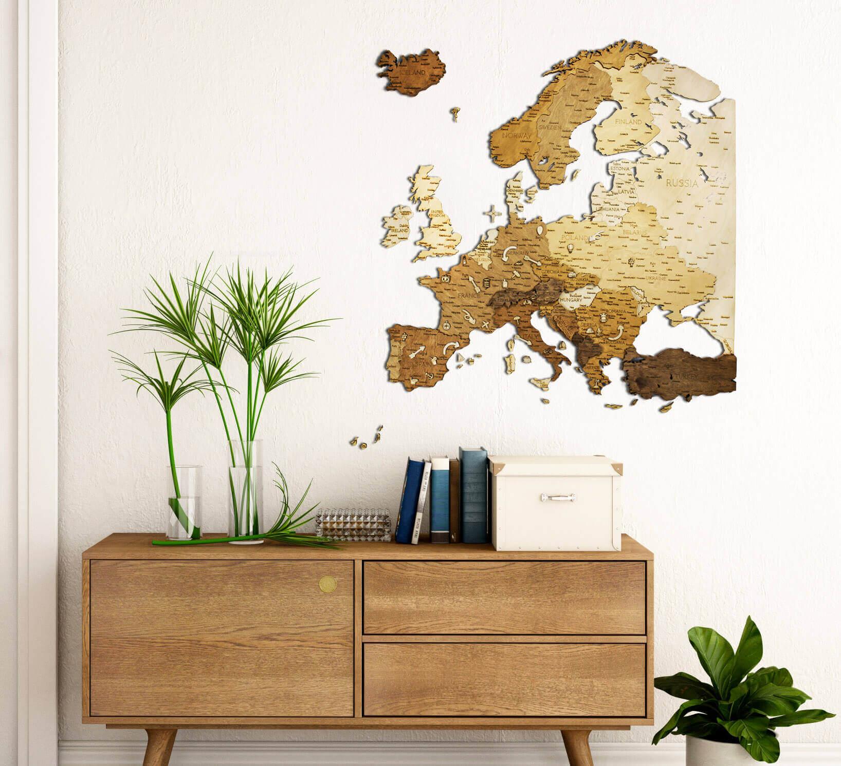 Drevená mapa Európy - nástenná dekorácia