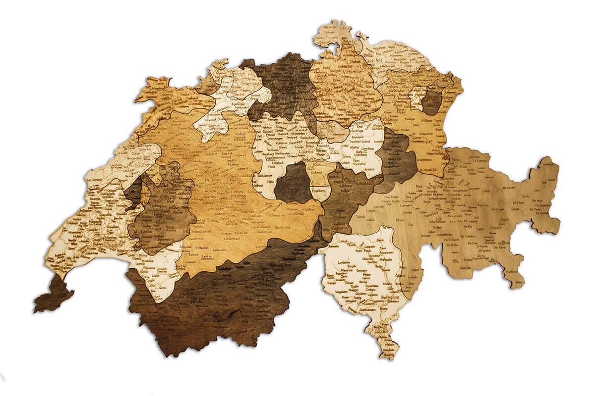Drevená mapa Švajčiarska