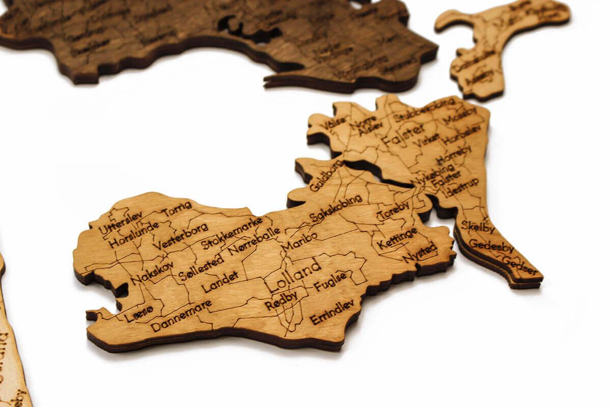 Drevená mapa Dánska