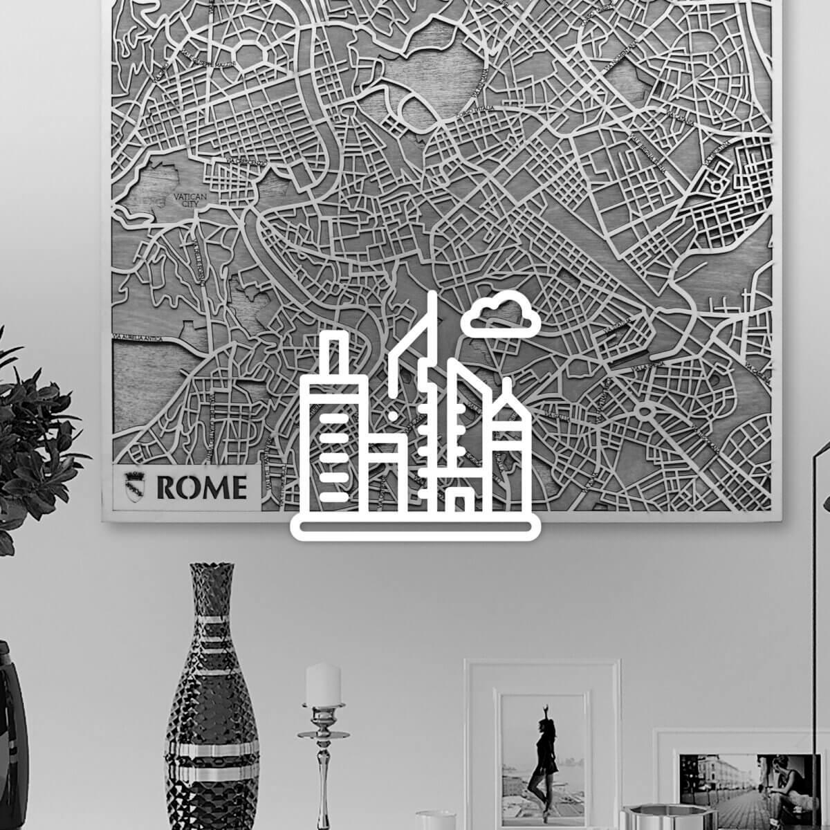 3D drevené mapy miest