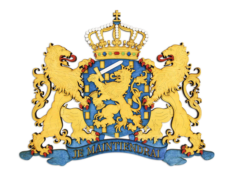 Drevený štátny znak Holandska