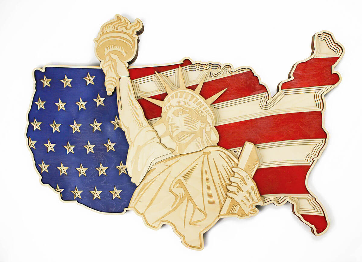 Socha slobody a mapa USA