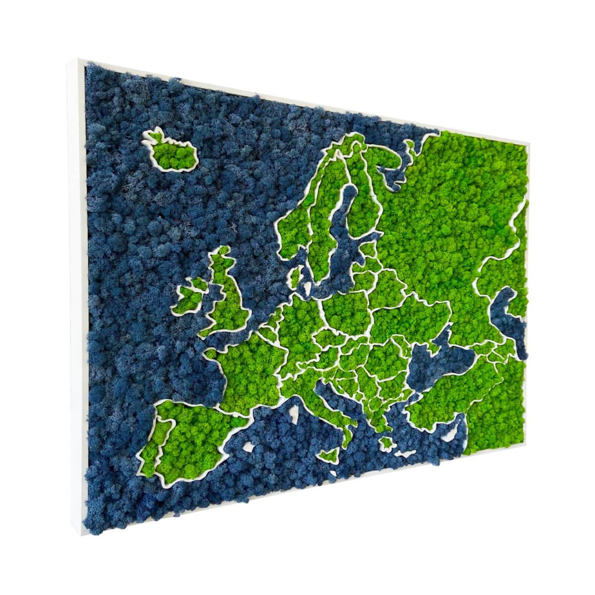 3D machová mapa Európy - organický lišajník