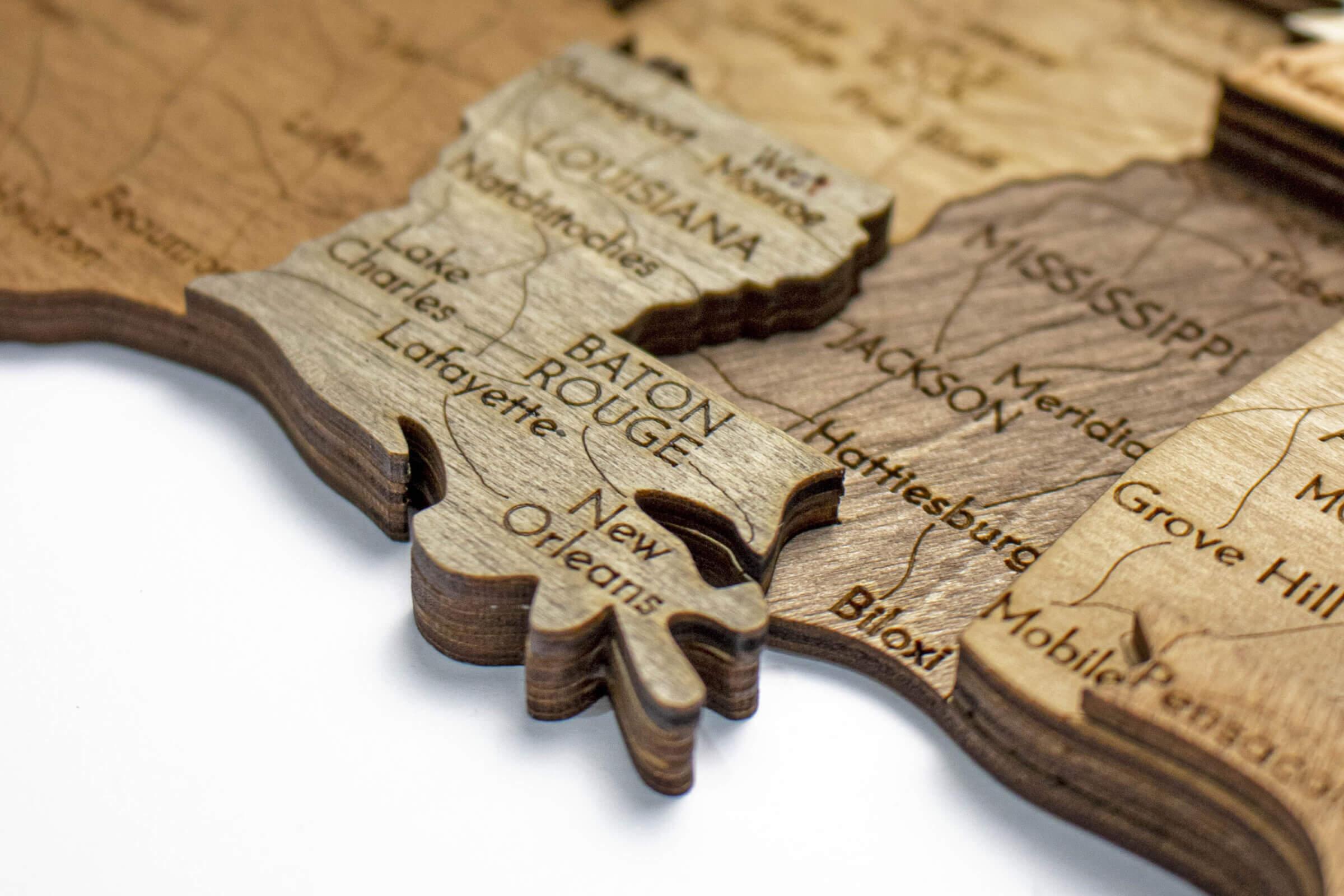 Drevená 3D mapa USA - Lousianna