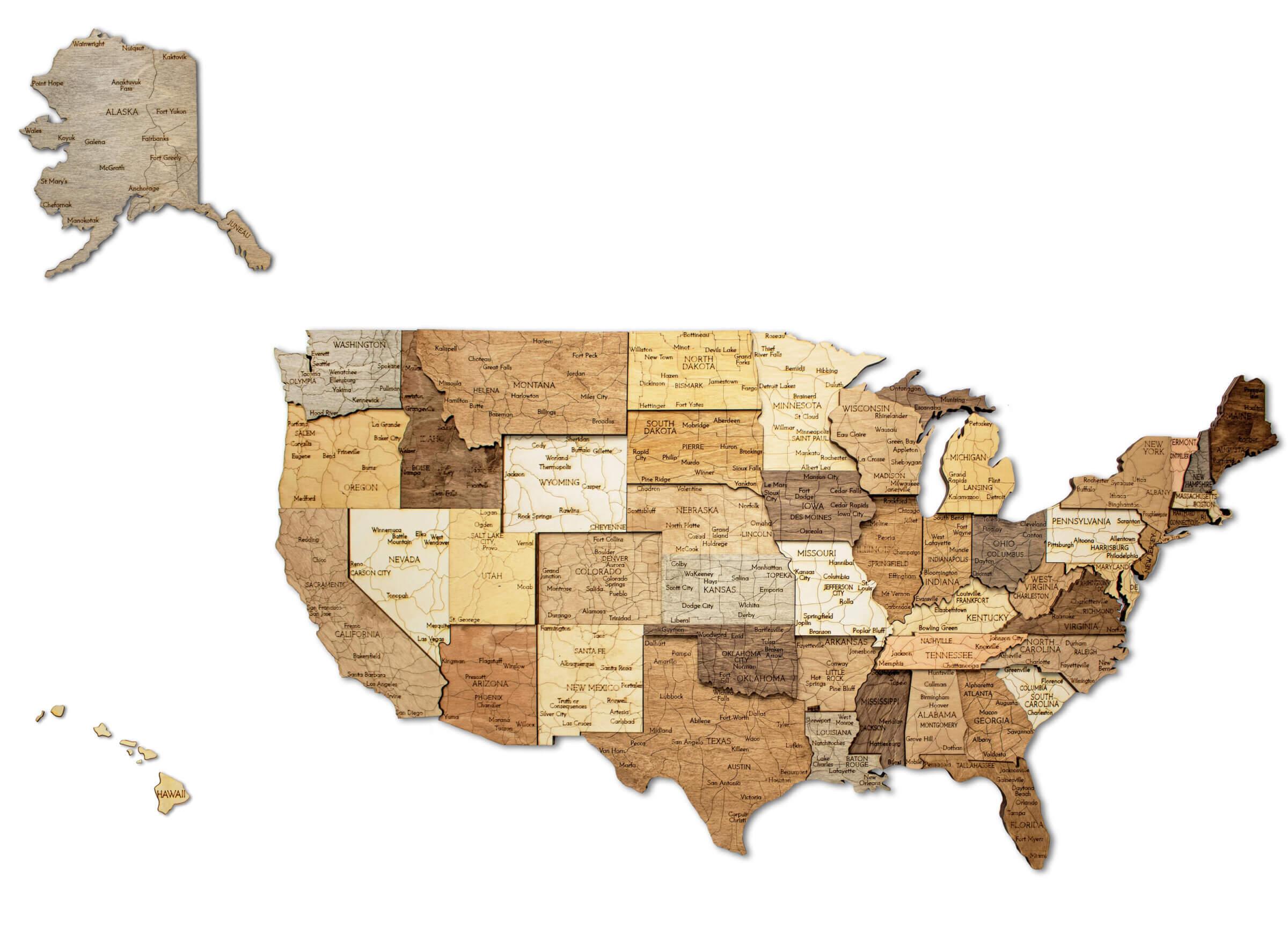 Drevená 3D mapa USA